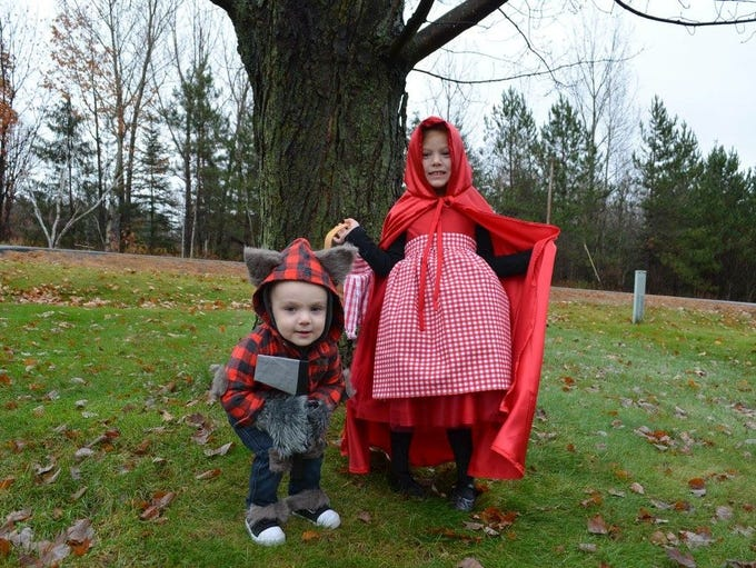 Grayson, 19 months, and Harper, 4, are ready to trick-or-treat