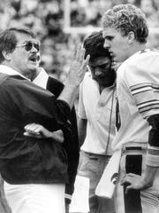 From 1983: Iowa Hawkeyes football coach Hayden Fry and quarterback Chuck Long.