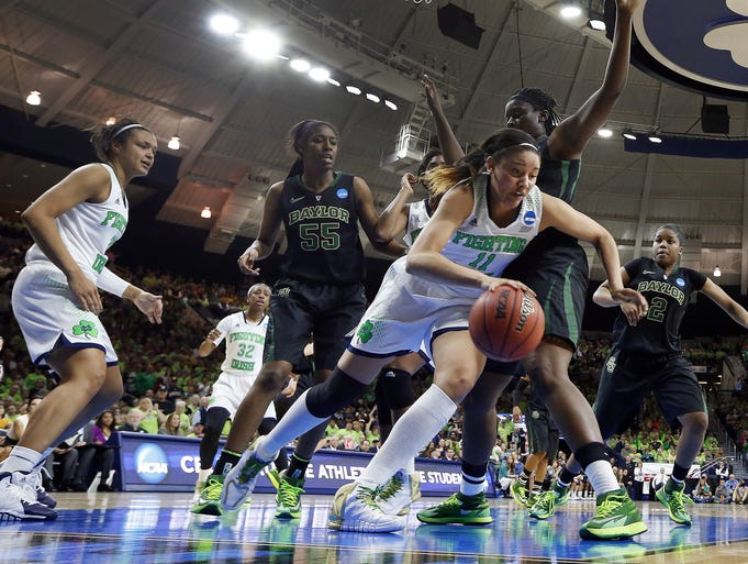 Notre Dame forward Natalie Achonwa dribbles after getting a rebound against Baylor in the second half of their NCAA women's college basketball tournament regional final game at the Purcell Pavilion in South Bend, Ind., Monday, March 31, 2014. (AP Photo/Paul Sancya)