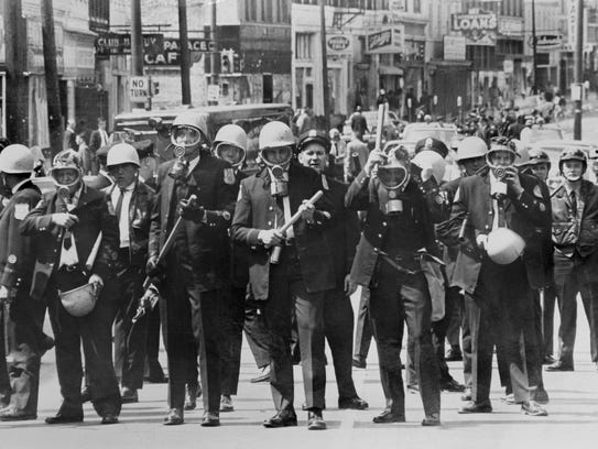 March 28, 1968 - Police officers in riot gear on Beale