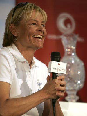 Former LPGA player and Rancho Mirage resident Liselotte Neumann was announced as Captain of the European Solheim Cup team during a press conference at the Kraft Nabisco Championship Wednesday, March 28, 2012. The Solheim Cup will be played in Colorado this August. Michael Snyder, The Desert Sun.