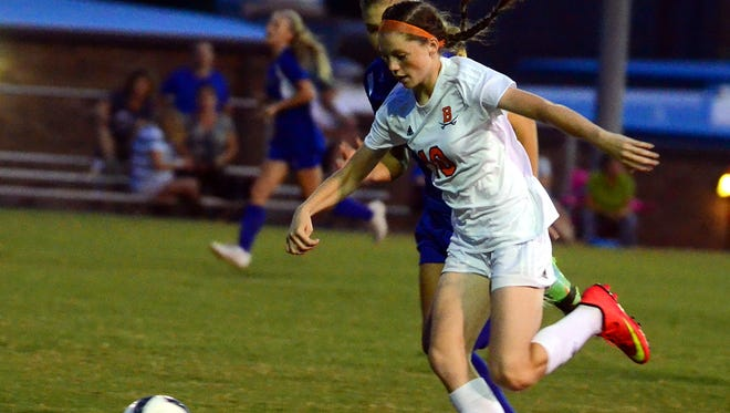 Beech freshman Jana Claire Swafford scored one of three Lady Buccaneer goals in the first 8:22 of Beech's 6-2 victory over Wilson Central on Thursday.