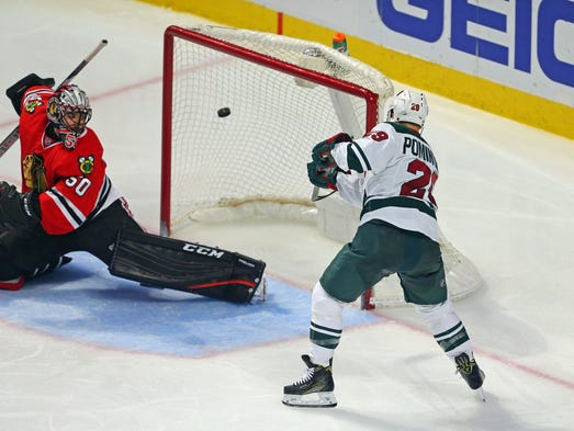 Jan. 15: Wild right wing Jason Pominville scores the
