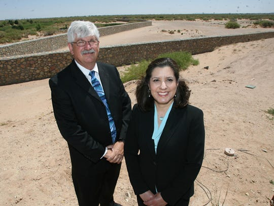 Monica Lombraña, airport director, and Jeff Schultes,