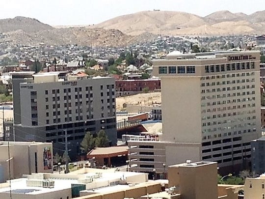 The Courtyard by Marriott Hotel, left, and the DoubleTree by Hilton Hotel, right, as seen from the roof of the Blue Flame Building in Downtown El Paso,
