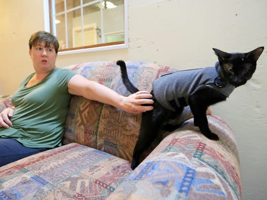 Sarah Storozuk plays with Asher, a blind cat she rescued