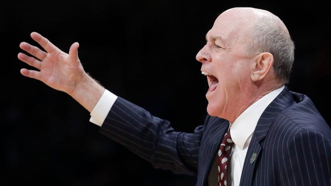 Mississippi State head coach Ben Howland yells during the second half against Liberty in a first-round game in the NCAA men's college basketball tournament Friday, March 22, 2019, in San Jose, Calif. (AP Photo/Jeff Chiu)