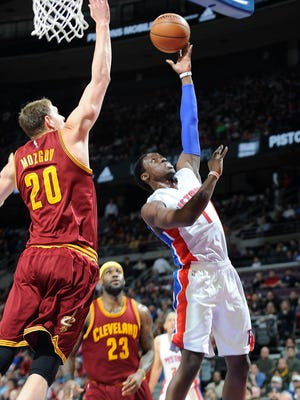 Reggie Jackson, who has proven to be as good as advertised, scores over Cavaliers forward Timofey Mozgov in the first quarter.
