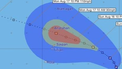 Forecast track issued Friday at 1 p.m. shows that Tropical Depression 16W is expected to move through the northern Marianas late Sunday or early Monday.