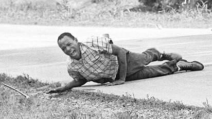"""James Meredith was shot on June 6, 1966, during his one-man """"March Against Fear"""" near Hernando, Mississippi."""