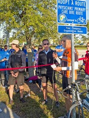 Mike Swanson, volunteer with Cape Coral Bike-Ped and Caloosa Riders Bicycle Club, at the opening of one of Cape Coral's bike routes last year.