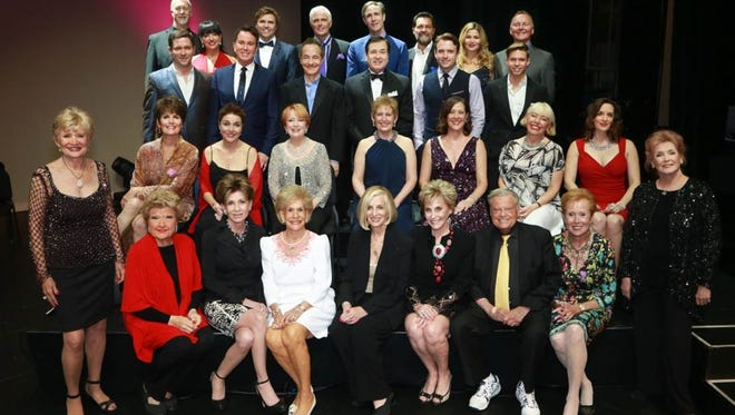 Director Lucie Arnaz (left 2nd row) and co-chair (front row) Terri Ketover and honorary chairs Annette Bloch, Helene Galen, Barbara Keller, Harold Matzner, and co-chair Barbara Fromm surrounded by the All Star Cast of One Night Only at the end of last week's show.  ONO Creator Michael Childers is pictured below. Michael Childers, Lucie Arnaz, Larry Luckinbill.
