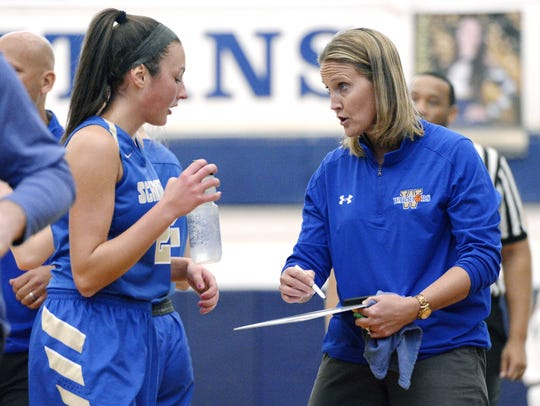 After coaching basketball at Webster Schroeder in the winter Meaghan Keil, right, is back for an 18th season leading the softball team.