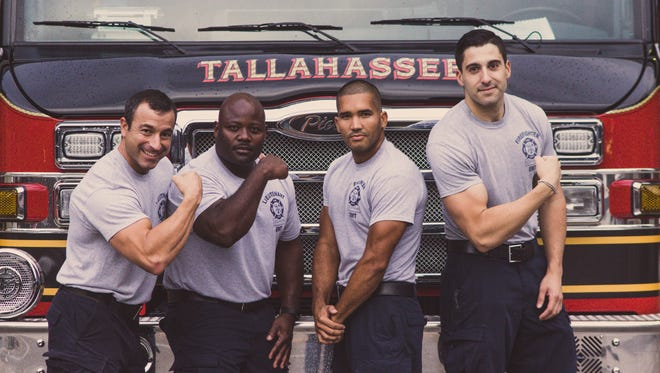 """Tallahassee Firefighters (from left to right) Lt Jason Reese, Lt Mark Evans, Eng. Angel Guzman, and FF Emilio Rodriguez pose for the """"Bringin' the Heat"""" calendar."""