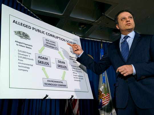 U.S. Attorney Preet Bharara addresses members of the media regarding New York Senate Majority Leader Dean Skelos and his son Adam during a news conference May 4, 2015, in New York.