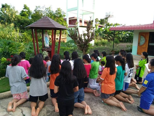Students and others at a school in northern Thailand