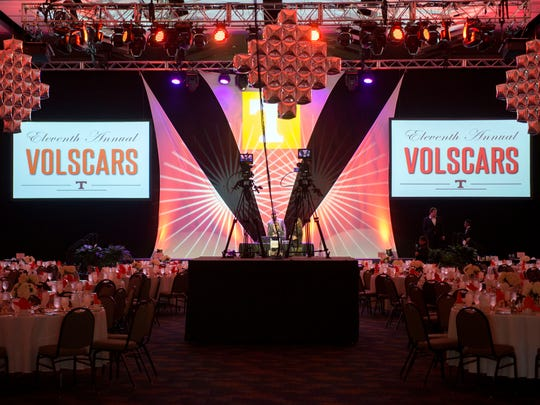 A ballroom at the Knoxville Convention Center is decorated