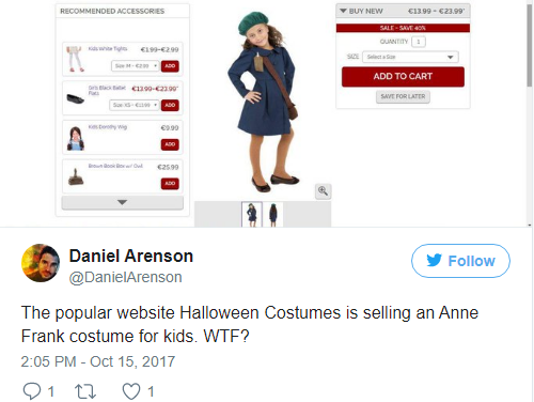 Anne Frank costume pulled