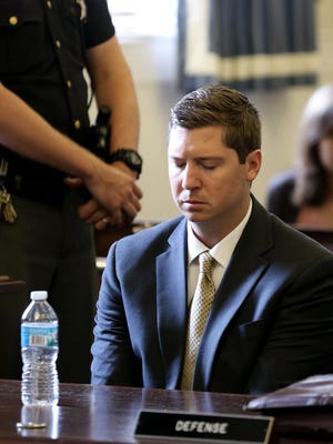 A former University of Cincinnati police officer, Ray Tensing, 27, reacts June 23, 2017, as Judge Leslie Ghiz of Hamilton County Common Pleas Court in Cincinnati tells the jury to continue deliberations after jurors said they were deadlocked.