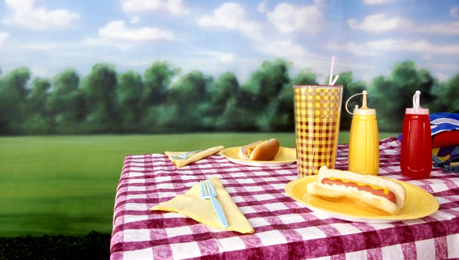 A classic picnic table setting