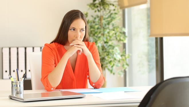 Thoughtful and nervous woman