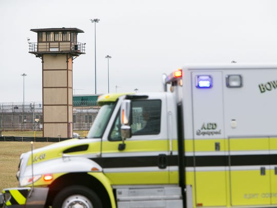 More ambulances arrive on scene as all Delaware prisons went on lockdown Feb. 2017 during the uprising at Vaughn Correctional Center near Smyrna.