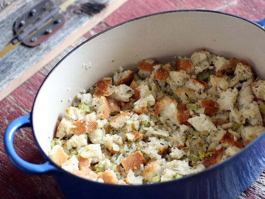 This homemade stove top stuffing is made in a Dutch oven.