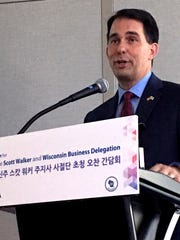 Governor Scott Walker speaks to members of the Korean International Trade Association during a networking luncheon in Seoul on Thursday, Sept. 14.