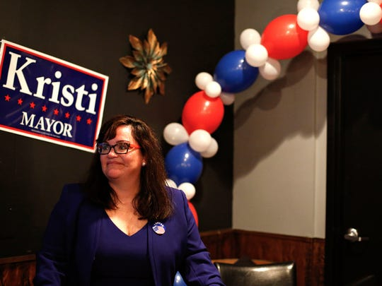 Mayoral candidate Kristi Fulnecky delivers a concession speech on April 4, 2017, after results showed she had lost the race to Ken McClure.