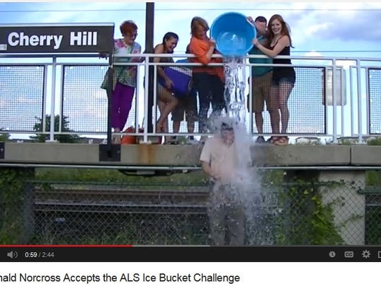 Screen grab from YouTube video of state Sen. Donald Norcross participating in the ALS Ice Bucket challenge last Friday.