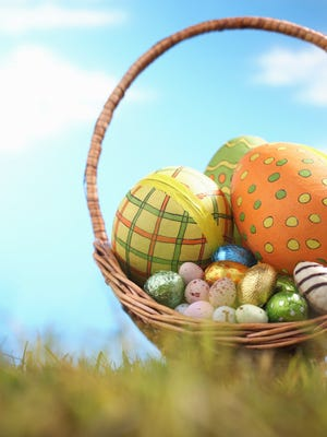 Easter eggs in basket.