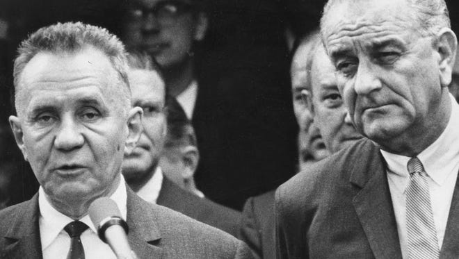Premier Kosygin, left, makes a public statement in hopes for peace as he stands with President Johnson during the Hollybush Summit in Glassboro in 1967.