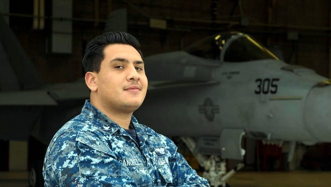 Petty Officer 3rd Class Nicholas Sanchez works as an aviation ordnanceman and operates out of Naval Air Station (NAS) Lemoore, California. Sanchez is responsible for loading weapons on aircrafts.