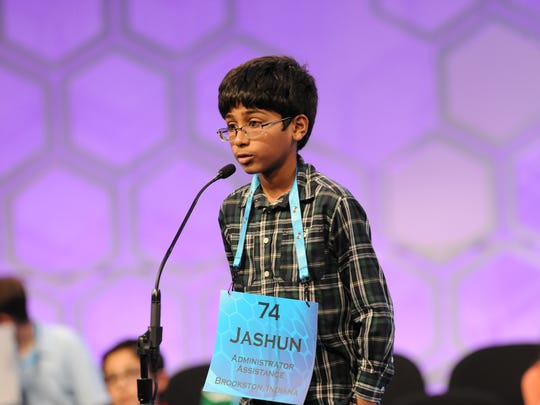 "Jashun Paluru, 11, of West Lafayette, correctly spelled ""keratogenous"" during the finals of the 2016 Scripps National Spelling Bee at the Gaylord National Resort & Convention Center on Thursday, May 26, 2016."