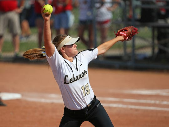 Lebanon's Jessica Weaver (19) pitches during the class 3A softball state finals between Lebanon High School and Kankakee Valley, at Ben Davis High School, Indianapolis, Saturday, June 11, 2016. Lebanon won, 2-1.