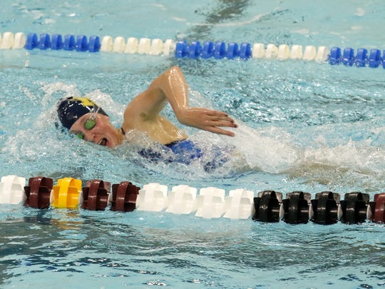 Notre Dame senior Molly Craig swims at a recent practice at Elmira High School.