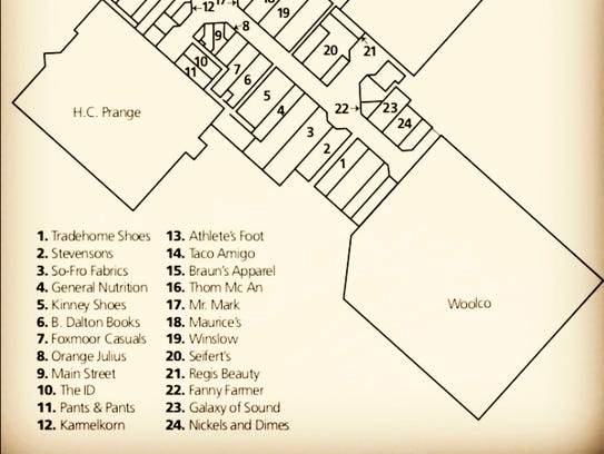 A floor plan and list of the 24 original tenants in