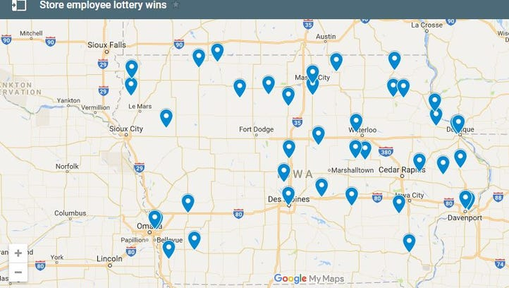 Map: Stores where retail workers won big in the Iowa Lottery