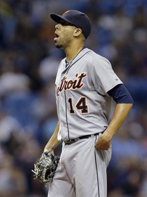 Detroit Tigers starting pitcher David Price reacts after giving up a two-run home run to Tampa Bay Rays' Curt Casali during the fourth inning of a baseball game Tuesday, July 28, 2015, in St. Petersburg, Fla.