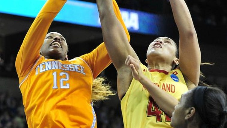 Tennessee forward Bashaara Graves fights for a rebound