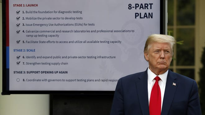 """In this April 27, 2020, file photo, President Donald Trump listens during briefing about the coronavirus in the Rose Garden of the White House in Washington. For weeks, Trump has been eager to publicly turn the page on the coronavirus pandemic. But now the White House fears that the very thing that finally shoved the virus off centerstage â€"""" mass protests over the death of George Floyd â€"""" may bring about its resurgence."""