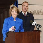 Zephyr Teachout of Dover Plains, left, speaks at a press conference where Democratic Rep. Sean Maloney of Cold Spring, right, endorsed her for the 19th Congressional District seat.