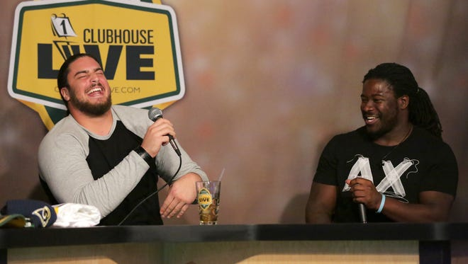 Green Bay Packers running back Eddie Lacy (right) was Monday's guest on Clubhouse Live with David Bakhtiari. The show is held at The Clubhouse in downtown Appleton.