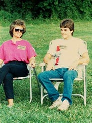 Jeff Gordon relaxes with his mother Carol at Bloomington