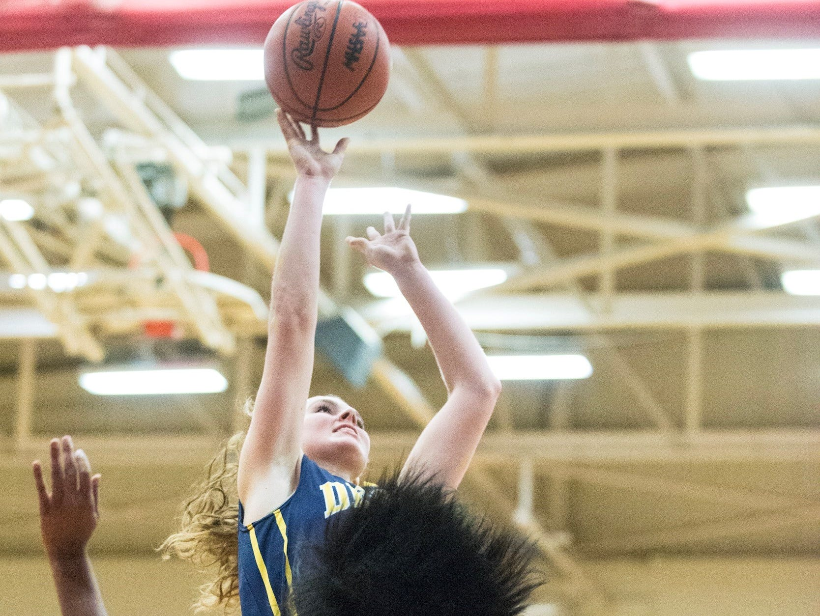 Grace George,top, of DeWitt knocks down a jump shot over Jalina Crawford ,20, of Everett during their season opening game Tuesday Lansing.