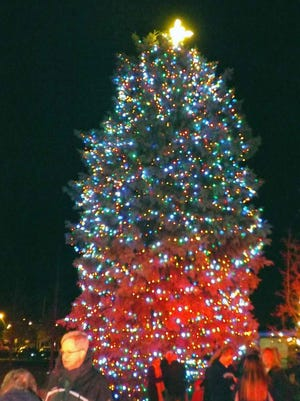The tree is lit up for the holidays during the Pawling Chamber of Commerce's annual December tree lighting festivities.