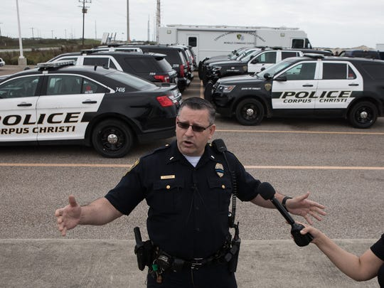Corpus Christi police Lt. Timothy Frazier discusses the departments traffic plans on Padre Island during spring break plan at a press conference on Friday, March 9, 2018.