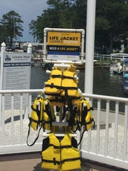 The Life Jacket Loaner Stand at Leisure Point in Long