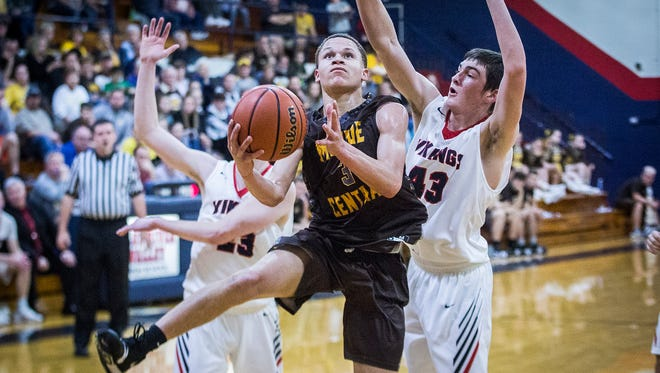 Monroe Central's Israel Nash, shown here earlier this season against Blue River, scored 42 points Tuesday against Frankton.