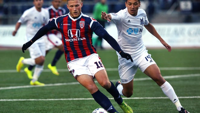 Conceivably, a stadium at the former Indianapolis International Airport terminal site could host Indy Eleven soccer games. The Indy Eleven has been lobbying the legislature for a publicly subsidized new stadium but said in a club statement that it would like to stay Downtown.   Carolina RailHawk Leo Osaki chases Indy Eleven forward Wojciech Wojcik (left) during the teams' 1-1 draw at IUPUI's Carroll Stadium in Indianapolis on April 25, 2015.